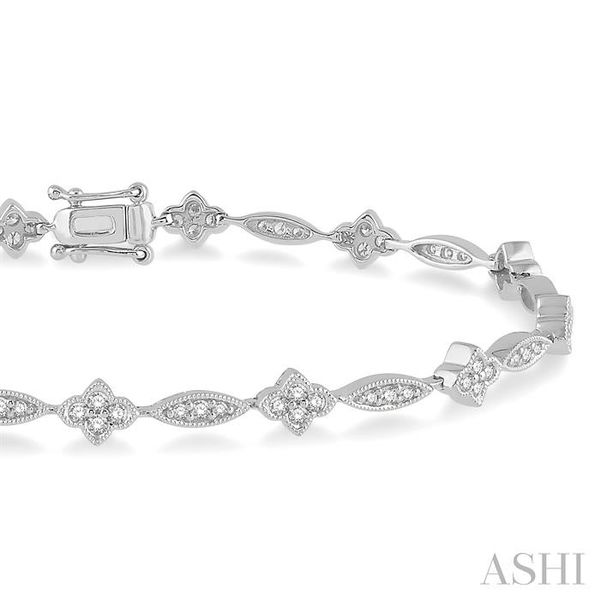 1 1/10 Ctw Marquise and Floral Link Diamond Bracelet in 14K White Gold Image 2 Seita Jewelers Tarentum, PA