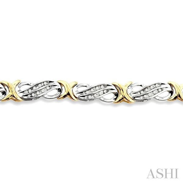 1/2 Ctw Single Cut Diamond Fancy Tennis Bracelet in 14K white and yellow Gold Image 3 Seita Jewelers Tarentum, PA