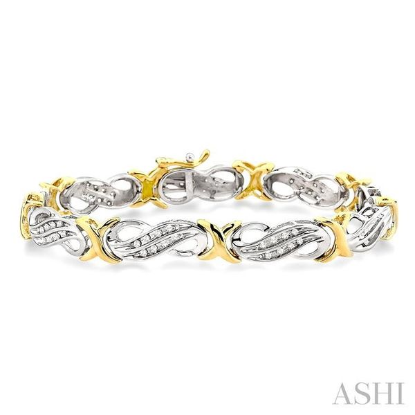 1/2 Ctw Single Cut Diamond Fancy Tennis Bracelet in 14K white and yellow Gold Seita Jewelers Tarentum, PA
