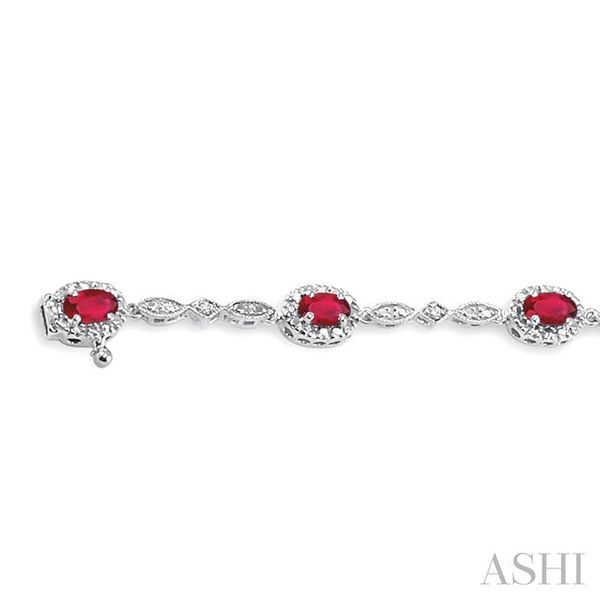 5x3MM Oval Cut Ruby and 1/20 Ctw Single Cut Diamond Tennis Bracelet in 14K White Gold Image 3 Seita Jewelers Tarentum, PA