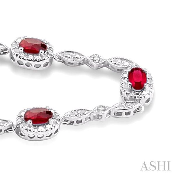 5x3MM Oval Cut Ruby and 1/20 Ctw Single Cut Diamond Tennis Bracelet in 14K White Gold Image 2 Seita Jewelers Tarentum, PA