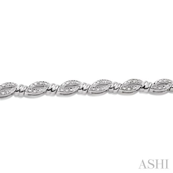 1/6 Ctw Knot Shape Single Cut Diamond Tennis Bracelet in Sterling Silver Image 3 Seita Jewelers Tarentum, PA