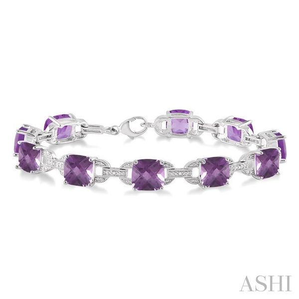 7x7 mm Cushion Cut Amethyst and 1/20 Ctw Round Cut Diamond Fashion Tennis Bracelet in Sterling Silver Seita Jewelers Tarentum, PA