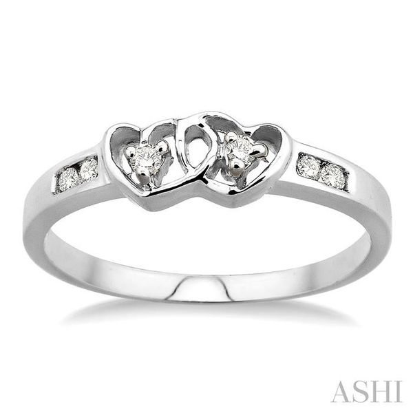 1/10 Ctw Round Cut Diamond Twin Heart Ring in Sterling Silver Image 2 Seita Jewelers Tarentum, PA
