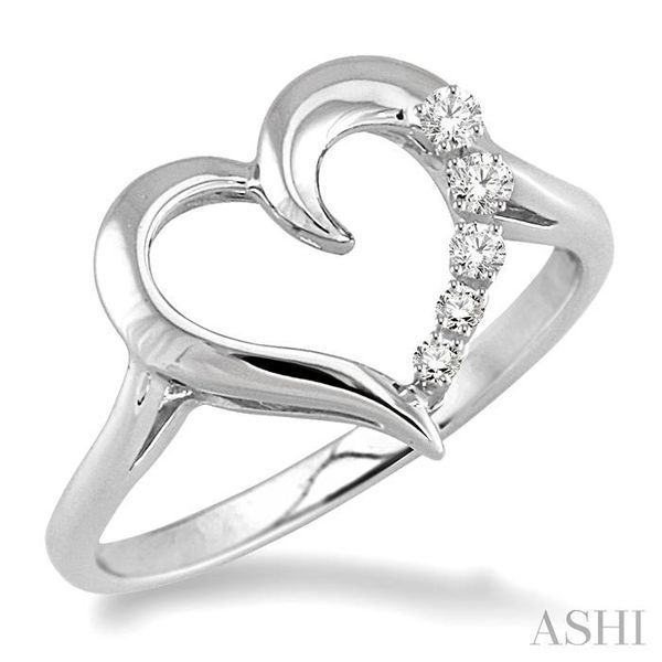 1/50 Ctw Single Cut Diamond Heart Shape Diamond Journey Ring in Sterling Silver Seita Jewelers Tarentum, PA