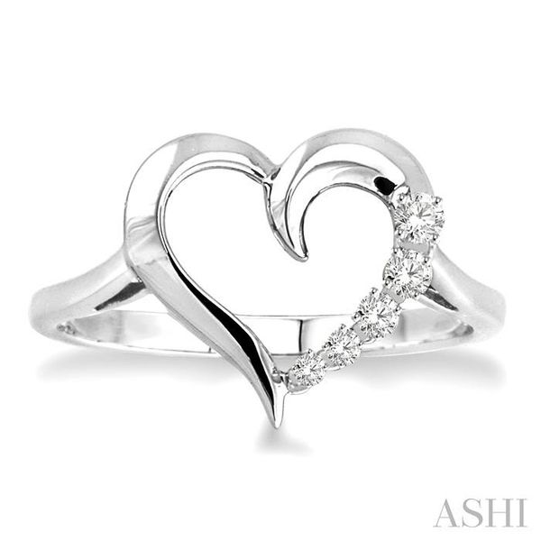 1/50 Ctw Single Cut Diamond Heart Shape Diamond Journey Ring in Sterling Silver Image 2 Seita Jewelers Tarentum, PA