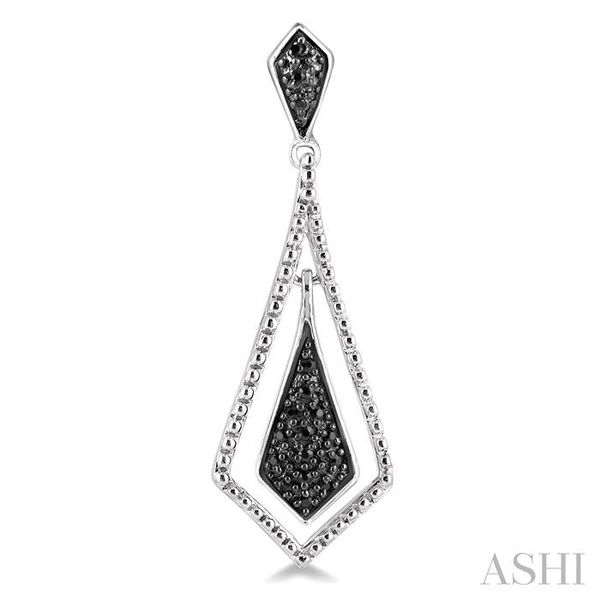 1/10 Ctw Round Cut Black Diamond Fashion Earrings in Sterling Silver Image 2 Seita Jewelers Tarentum, PA
