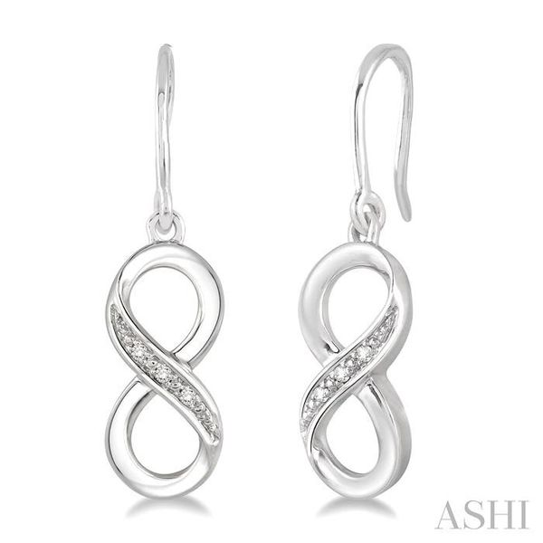 1/50 Ctw Round Cut Diamond Infinity Earrings in Sterling Silver Seita Jewelers Tarentum, PA