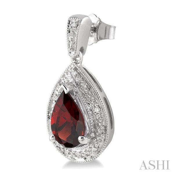 9x6MM Pear Shape Garnet and 1/20 Ctw Single Cut Diamond Earrings in Sterling Silver Image 3 Seita Jewelers Tarentum, PA