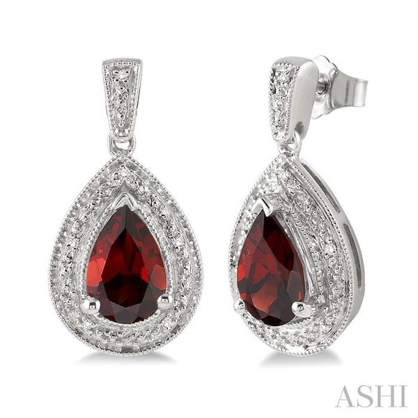 9x6MM Pear Shape Garnet and 1/20 Ctw Single Cut Diamond Earrings in Sterling Silver Seita Jewelers Tarentum, PA