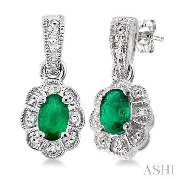 5x3 mm Oval Cut Emerald and 1/20 ctw Single Cut Diamond Earrings in Sterling Silver Seita Jewelers Tarentum, PA