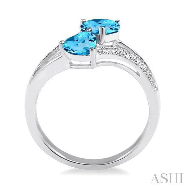 5&6 mm Heart Shape Blue Topaz and 1/50 Ctw Single Cut Diamond Ring in Sterling Silver Image 3 Seita Jewelers Tarentum, PA