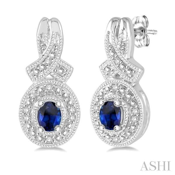 4x3 mm Oval Cut Sapphire and 1/20 ctw Single Cut Diamond Earrings in Sterling Silver Seita Jewelers Tarentum, PA