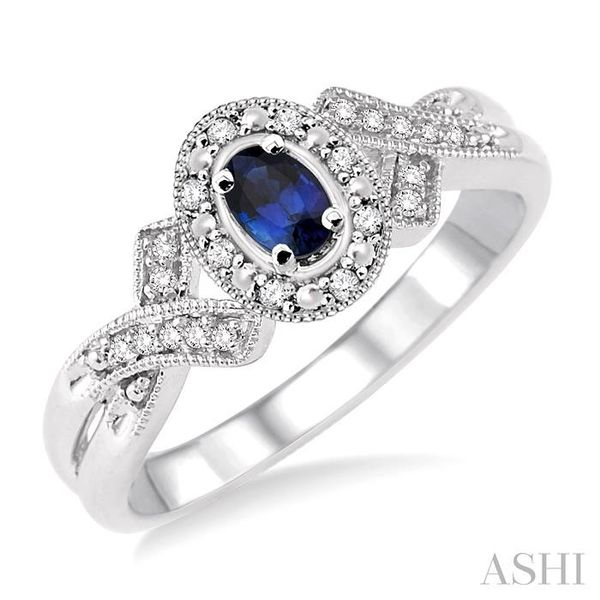 5x3 mm Oval Cut Sapphire and 1/50 Ctw Single Cut Diamond Ring in Sterling Silver Seita Jewelers Tarentum, PA