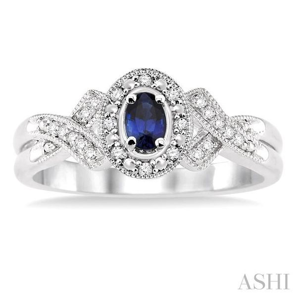 5x3 mm Oval Cut Sapphire and 1/50 Ctw Single Cut Diamond Ring in Sterling Silver Image 2 Seita Jewelers Tarentum, PA