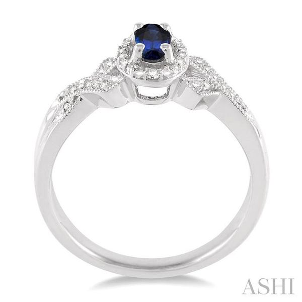 5x3 mm Oval Cut Sapphire and 1/50 Ctw Single Cut Diamond Ring in Sterling Silver Image 3 Seita Jewelers Tarentum, PA
