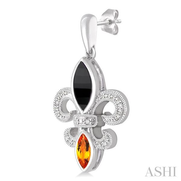 8x4 MM Marquise Cut Onyx, 6x3 MM Marquise Cut Citrine and 1/20 Ctw Round Cut Diamond Fleur de lis Earrings in Sterling Silver Image 3 Seita Jewelers Tarentum, PA