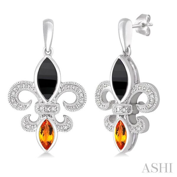 8x4 MM Marquise Cut Onyx, 6x3 MM Marquise Cut Citrine and 1/20 Ctw Round Cut Diamond Fleur de lis Earrings in Sterling Silver Seita Jewelers Tarentum, PA
