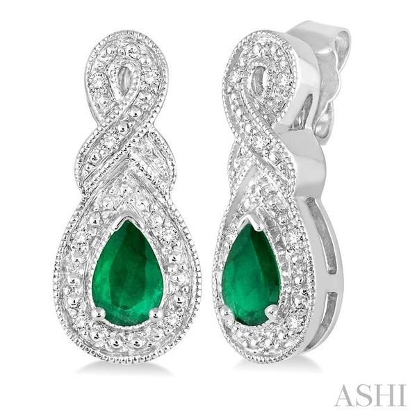 5x3 MM Pear Shape Emerald and 1/20 Ctw Round Cut Diamond Earrings in Sterling Silver Seita Jewelers Tarentum, PA