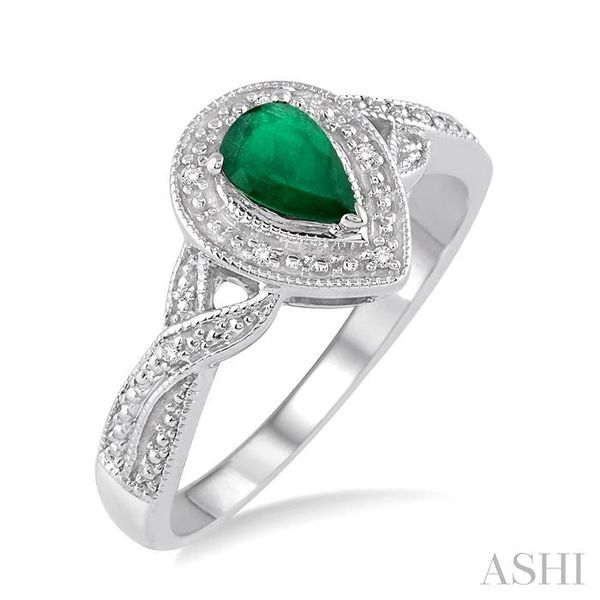 6x4 mm Pear Shape Emerald and 1/50 Ctw Round Cut Diamond Ring in Sterling Silver Seita Jewelers Tarentum, PA