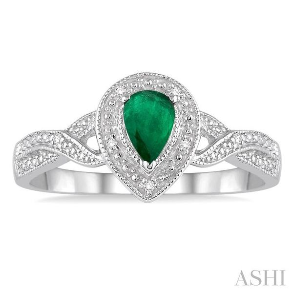6x4 mm Pear Shape Emerald and 1/50 Ctw Round Cut Diamond Ring in Sterling Silver Image 2 Seita Jewelers Tarentum, PA