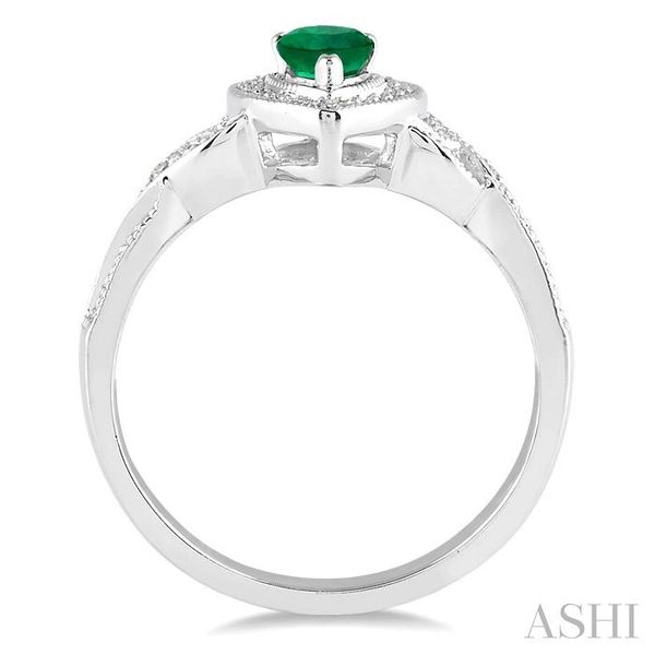 6x4 mm Pear Shape Emerald and 1/50 Ctw Round Cut Diamond Ring in Sterling Silver Image 3 Seita Jewelers Tarentum, PA