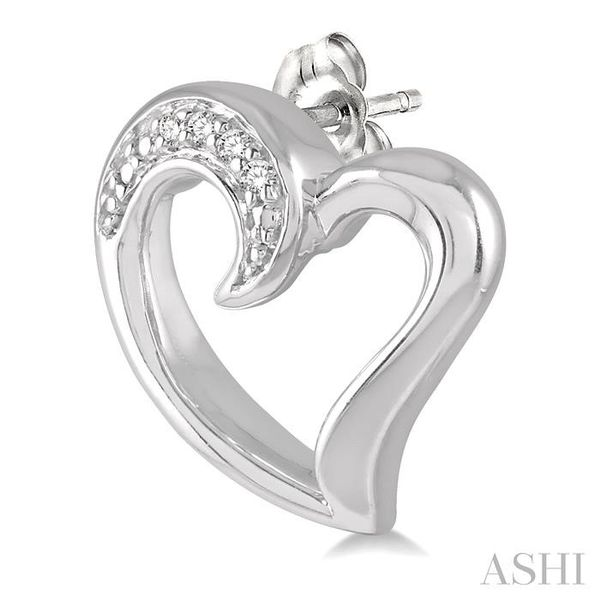 1/50 ctw Hollow Center Heart Charm Round Cut Diamond Earring in Sterling Silver Image 3 Seita Jewelers Tarentum, PA