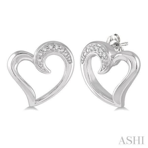 1/50 ctw Hollow Center Heart Charm Round Cut Diamond Earring in Sterling Silver Seita Jewelers Tarentum, PA