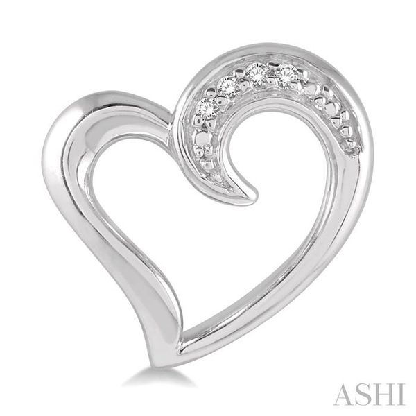 1/50 ctw Hollow Center Heart Charm Round Cut Diamond Earring in Sterling Silver Image 2 Seita Jewelers Tarentum, PA