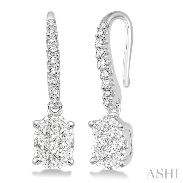 1/2 Ctw Oval Shape Diamond Lovebright Earrings in 14K White Gold Seita Jewelers Tarentum, PA