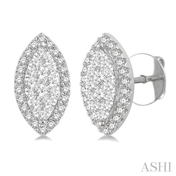 1/2 Ctw Marquise Shape Lovebright Round Cut Diamond Stud Earrings in 14K White Gold Seita Jewelers Tarentum, PA