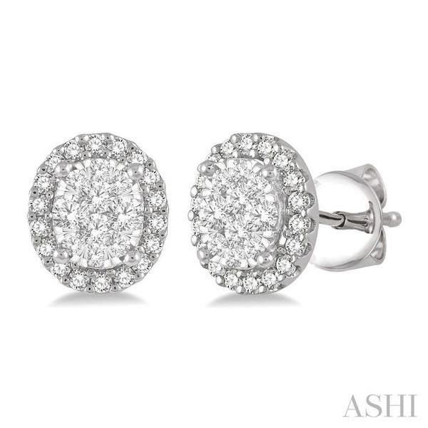 1/3 Ctw Oval Shape Lovebright Round Cut Diamond Stud Earrings in 14K White Gold Seita Jewelers Tarentum, PA