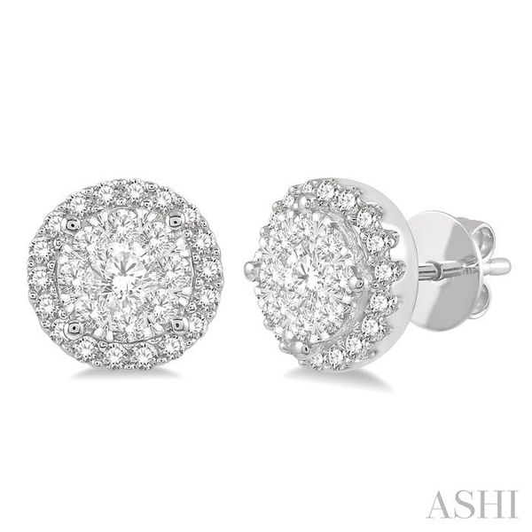1/2 Ctw Lovebright Round Cut Diamond Stud Earrings in 14K White Gold Seita Jewelers Tarentum, PA