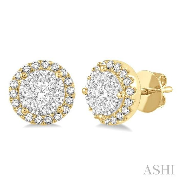 1/2 Ctw Lovebright Round Cut Diamond Stud Earrings in 14K Yellow and White Gold Seita Jewelers Tarentum, PA