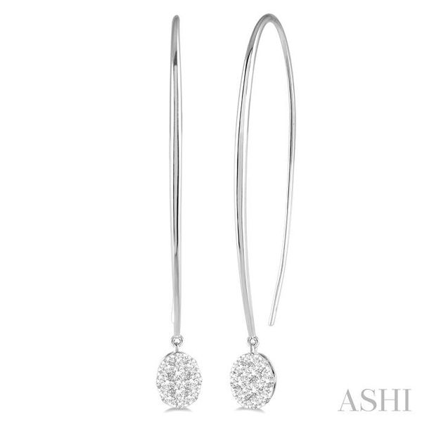 1/2 ctw Oval Shape Dangler Lovebright Round Cut Diamond Earring in 14K White Gold Seita Jewelers Tarentum, PA
