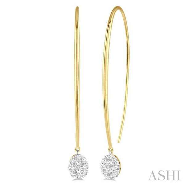 1/2 ctw Oval Shape Dangler Lovebright Round Cut Diamond Earring in 14K Yellow and White Gold Seita Jewelers Tarentum, PA