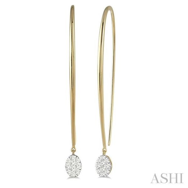 1/3 ctw Oval Shape Dangler Lovebright Round Cut Diamond Earring in 14K Yellow and White Gold Seita Jewelers Tarentum, PA