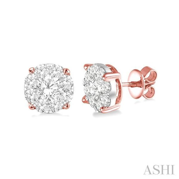 1 1/2 Ctw Lovebright Round Cut Diamond Earrings in 14K Rose and White Gold Seita Jewelers Tarentum, PA