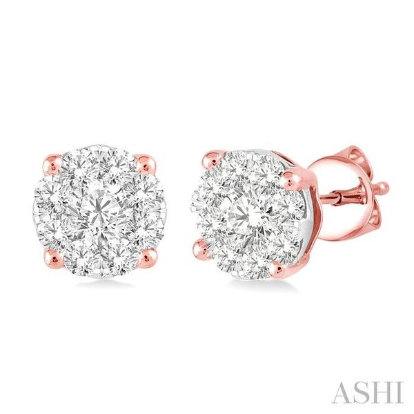 1 Ctw Lovebright Round Cut Diamond Earrings in 14K Rose and White Gold Seita Jewelers Tarentum, PA