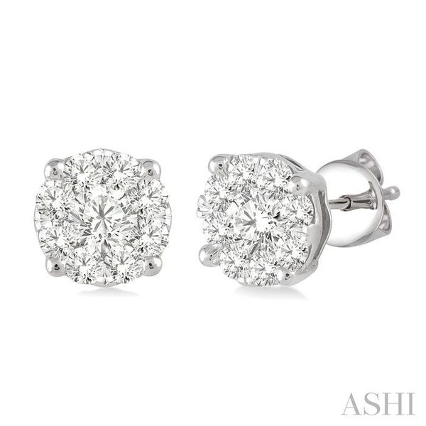 1 Ctw Lovebright Round Cut Diamond Earrings in 14K White Gold Seita Jewelers Tarentum, PA