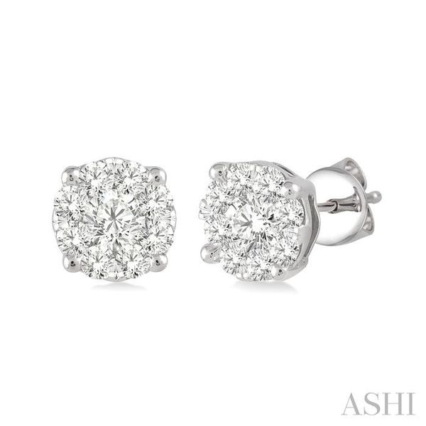1/2 Ctw Lovebright Round Cut Diamond Earrings in 14K White Gold Seita Jewelers Tarentum, PA