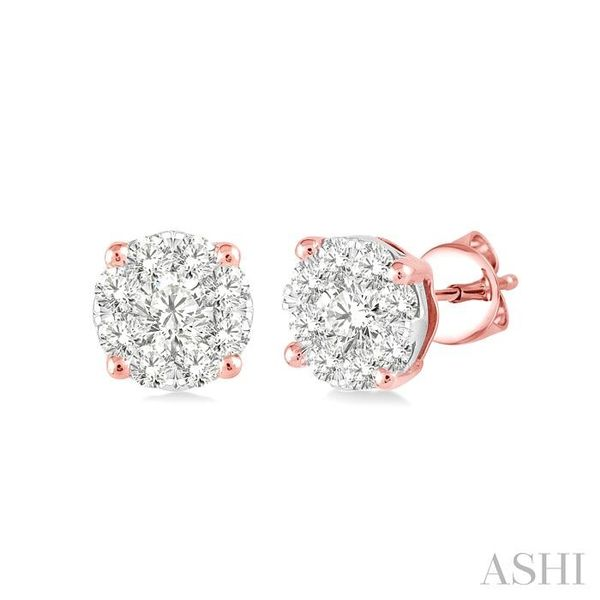 1/4 Ctw Lovebright Round Cut Diamond Earrings in 14K Rose and White Gold Seita Jewelers Tarentum, PA
