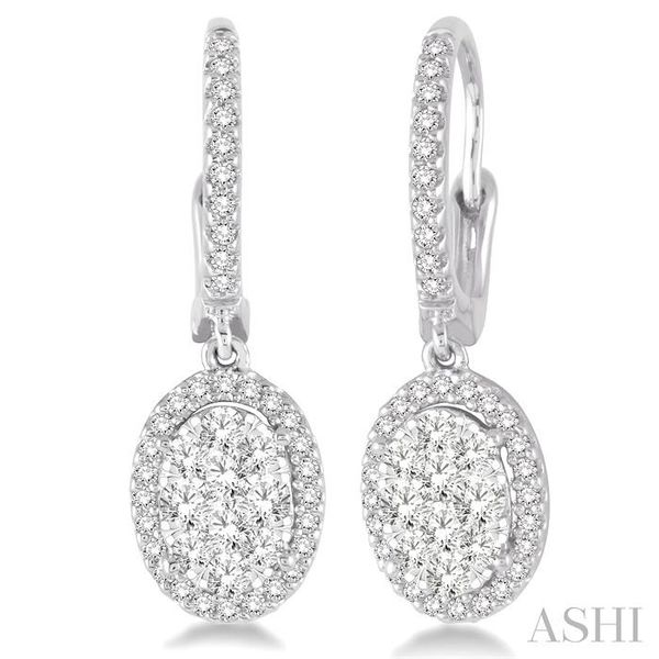1 Ctw Oval Shape Diamond Lovebright Earrings in 14K White Gold Seita Jewelers Tarentum, PA