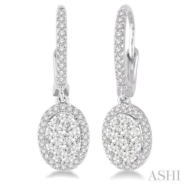 3/4 Ctw Oval Shape Diamond Lovebright Earrings in 14K White Gold Seita Jewelers Tarentum, PA