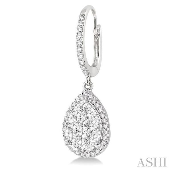 1 Ctw Pear Shape Diamond Lovebright Earrings in 14K White Gold Image 3 Seita Jewelers Tarentum, PA
