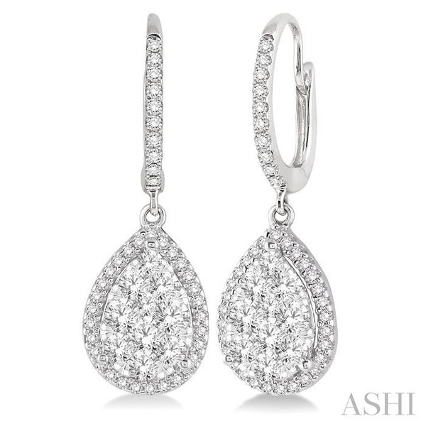 1 Ctw Pear Shape Diamond Lovebright Earrings in 14K White Gold Seita Jewelers Tarentum, PA