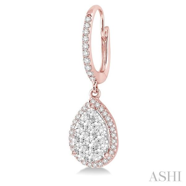 3/4 Ctw Pear Shape Diamond Lovebright Earrings in 14K Rose and White Gold Image 3 Seita Jewelers Tarentum, PA