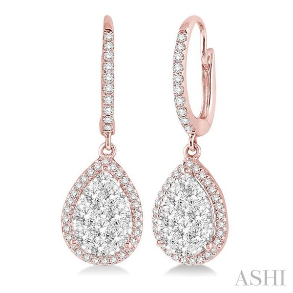 3/4 Ctw Pear Shape Diamond Lovebright Earrings in 14K Rose and White Gold Seita Jewelers Tarentum, PA