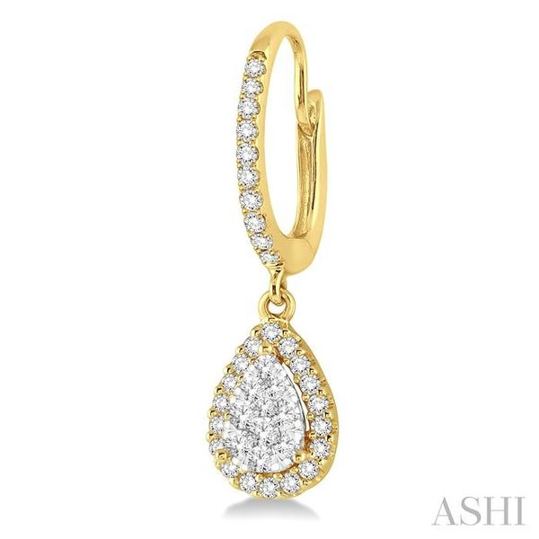 3/8 Ctw Pear Shape Diamond Lovebright Earrings in 14K Yellow and White Gold Image 3 Seita Jewelers Tarentum, PA