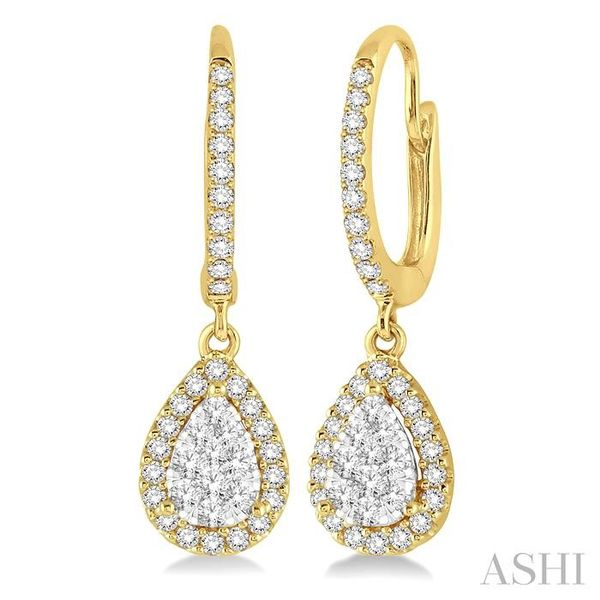 3/8 Ctw Pear Shape Diamond Lovebright Earrings in 14K Yellow and White Gold Seita Jewelers Tarentum, PA